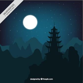Paysage de nuit avec la pleine lune