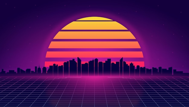 Paysage de nuit rétro futuriste illustration de style retrowave et synthwave des toits de la ville de nuit