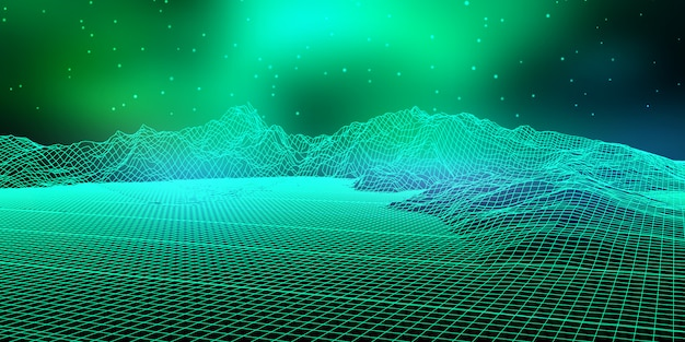 Paysage numérique abstrait avec conception filaire