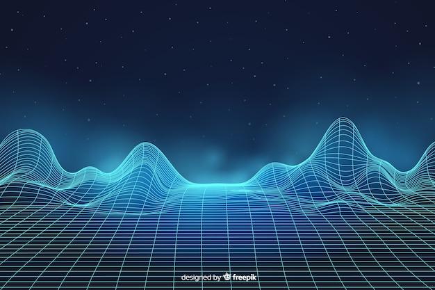 Paysage numérique abstrait avec fond de particules