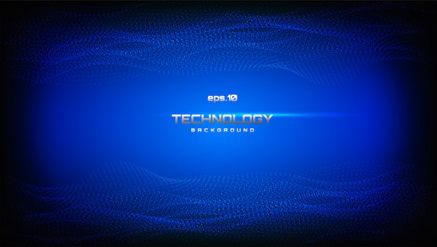 Paysage numérique abstrait avec des particules qui coule. contexte numérique de la technologie cyber dans un style futuriste ondulé