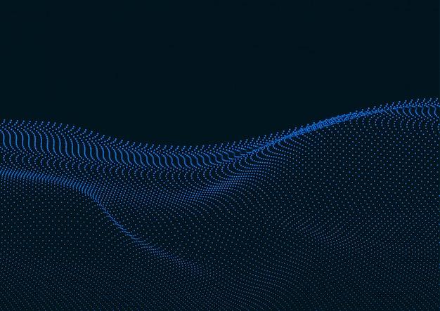 Paysage numérique abstrait avec des particules qui coule
