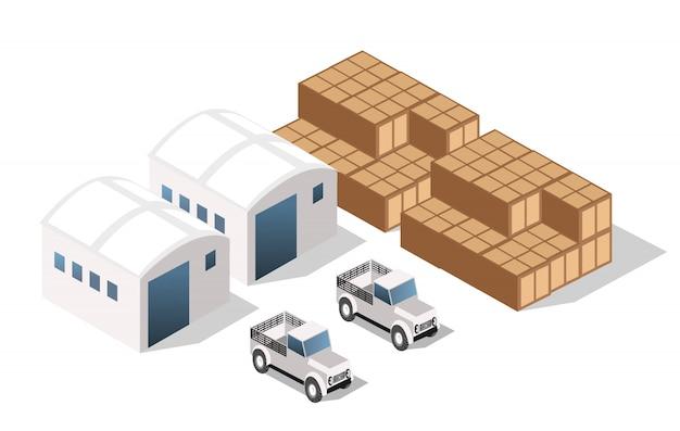 Paysage d'objets industriels, usines, parkings