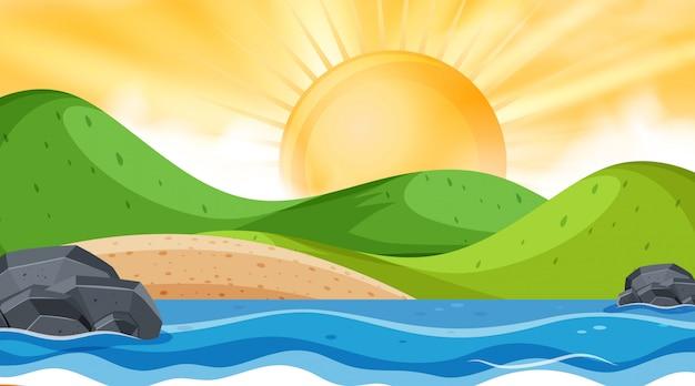 Paysage avec océan et coucher de soleil