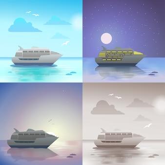 Paysage océan mer bateau de croisière été voyage scène de vacances lumière du jour nuit clair de lune coucher de soleil vue ensemble.