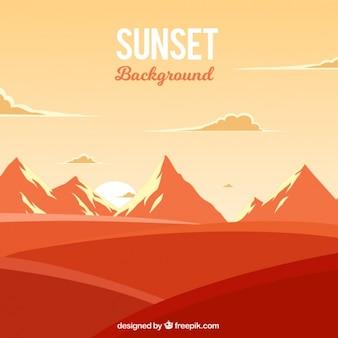 Paysage orange avec des montagnes