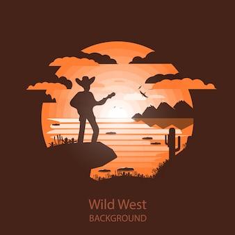 Paysage ouest sauvage. scène occidentale. illustration de l'espace négatif