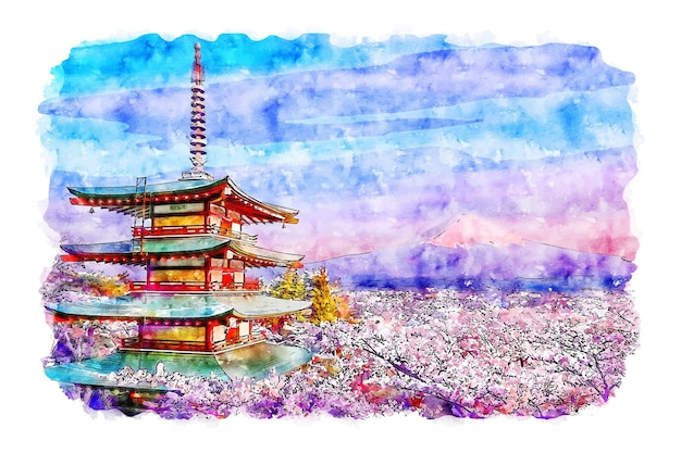 Paysage pagode chureito japon aquarelle croquis illustration dessinée à la main