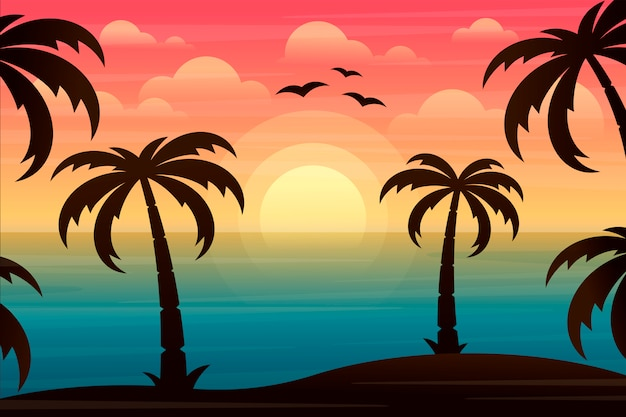 Paysage avec palmiers