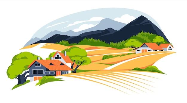 Paysage panoramique avec prairies et montagnes maisons en zone rurale vue panoramique sur la nature en plein air avec chalet en campagne