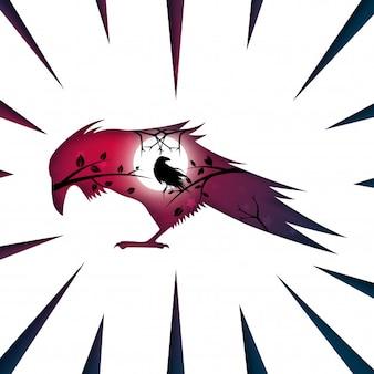 Paysage de papier de dessin animé. corbeau, illustration de corbeau