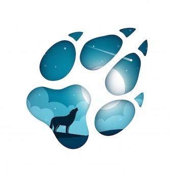 Paysage de papier dessin animé avec une empreinte de loup
