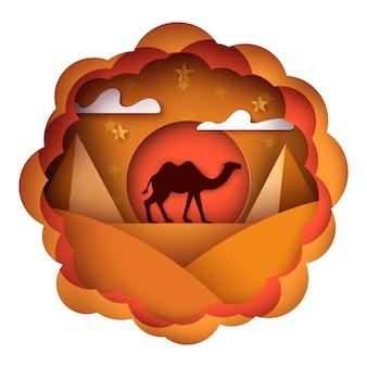 Paysage de papier dessin animé. illustration de chameau.
