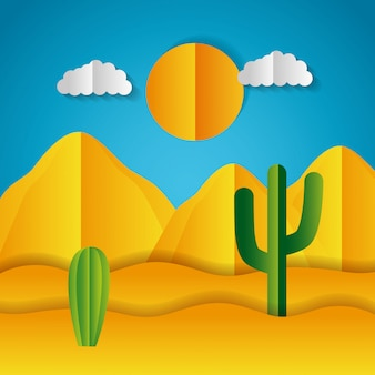 Paysage en papier origami d'un désert
