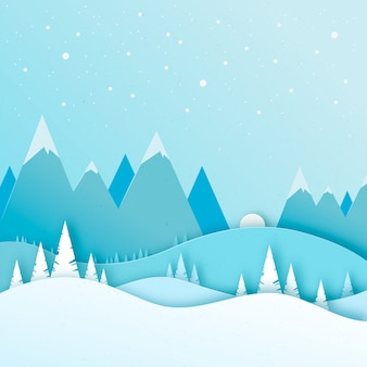 Paysage papier style hiver