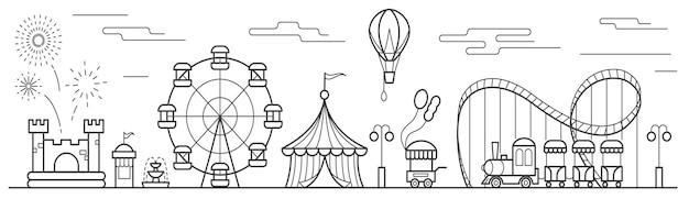 Paysage d'un parc d'attractions avec grande roue, cirque, manèges, ballon, château gonflable.