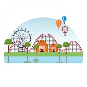 Paysage de parc d'attractions