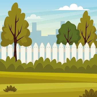 Paysage de parc nature et ville
