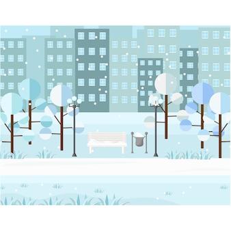 Paysage de parc de neige