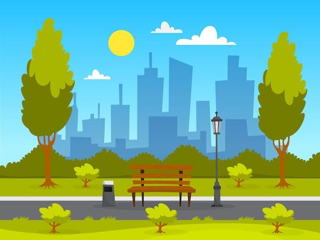 Paysage de parc de la ville. herbe verte, banc et arbres
