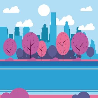 Paysage de parc de la ville