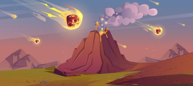 Paysage de la période jurassique avec volcan en éruption
