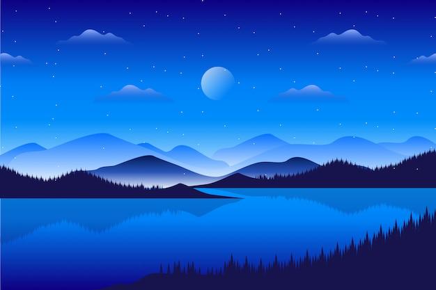 Paysage de pinède avec paysage de montagne