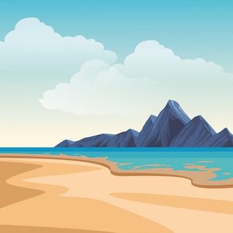 Paysage de plage et d'île