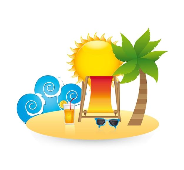 Paysage de plage sur illustration vectorielle fond blanc