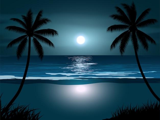 Paysage de plage de nuit avec la pleine lune