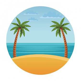 Paysage de plage avec palmier