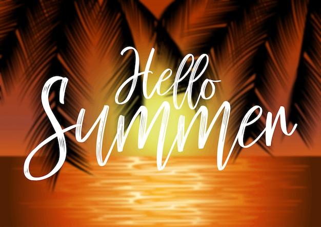 Paysage de plage avec des palmiers et des lettres sur fond flou. illustration de concept d'été