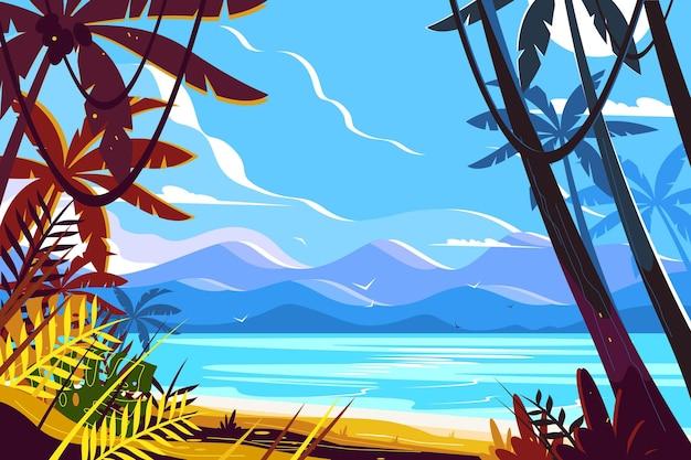 Paysage de plage paradisiaque.