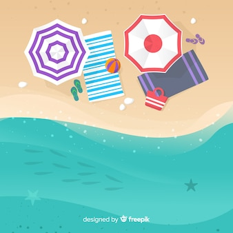 Paysage de plage de vecteur de fond tropical