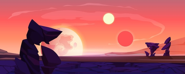 Paysage de planète extraterrestre, surface du désert au crépuscule ou à l'aube avec montagnes, rochers, satellite et deux soleils qui brillent sur le ciel orange. fond de jeu d'ordinateur extraterrestre de l'espace, illustration vectorielle de dessin animé