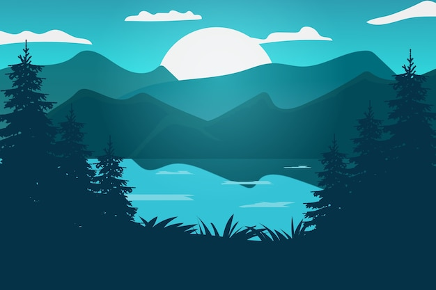 Paysage plat beau lac dégradé vert bleu la nuit avec lune brillante