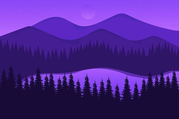 Paysage plat une belle forêt de couleur pourpre