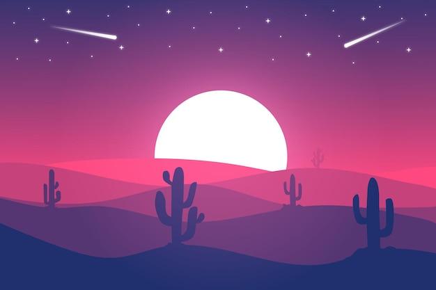 Paysage plat le désert du sahara est magnifique la nuit avec des lumières roses vives