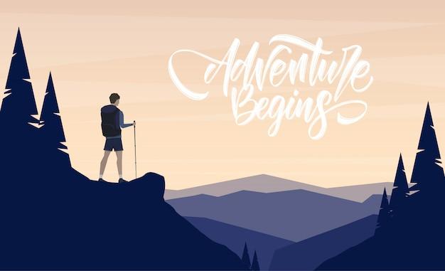 Paysage plat de dessin animé avec randonneur de personnage au premier plan et lettrage manuscrit de l'aventure commence.