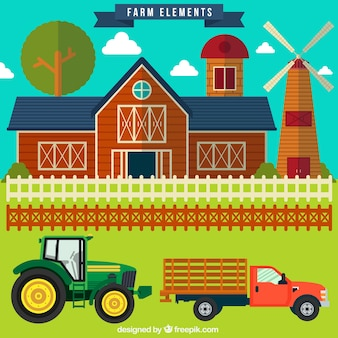 Paysage plat avec des éléments agricoles