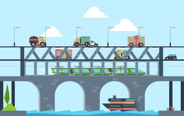 Paysage avec pont. pont routier de camion de vitesse avec illustration de fond de dessin animé de voitures