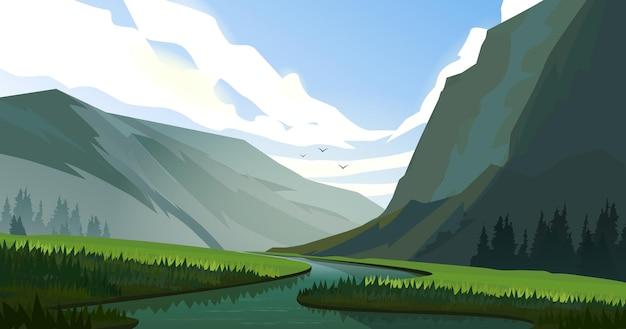 Paysage avec prairie et montagnes