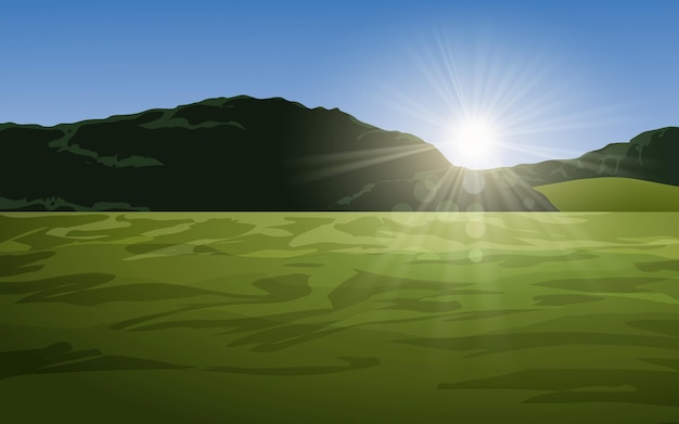 Paysage de prairies et collines avec lever du soleil