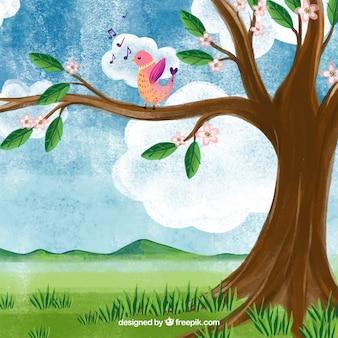 Paysage de printemps aquarelle avec oiseau chanteur
