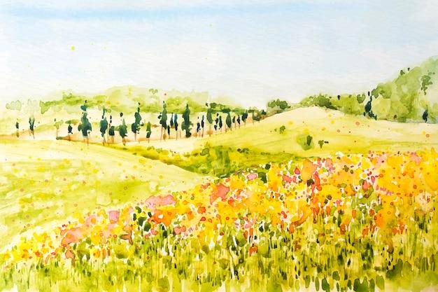 Paysage de printemps aquarelle avec plaines et fleurs