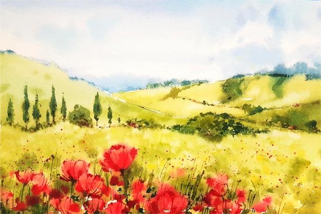 Paysage de printemps aquarelle