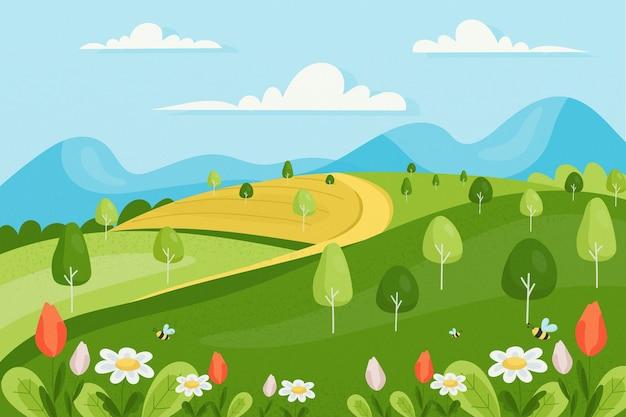 Paysage de printemps au design plat