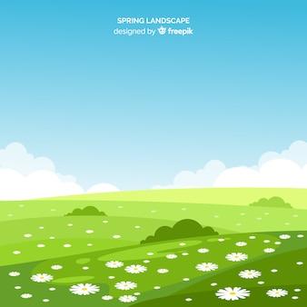 Paysage de printemps de champ de fleurs