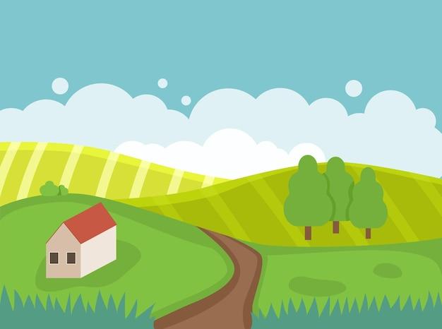 Paysage de printemps avec collines, arbres, maison et route. arrière-plan pour affiche, bannière et carte de voeux. illustration vectorielle plane.