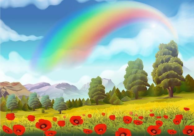 Paysage de printemps, coquelicots et arc-en-ciel